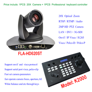 Joystick Keyboard Control HDSDI DVI IP PTZ Streaming Conference Camera - Full 1080p High Definition Video with 20x Optical Zoom