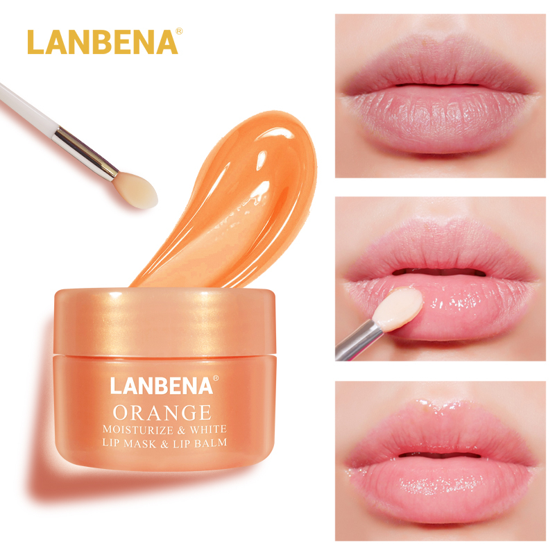 LANBENA Whitening Lip Balm Orange Vitamin C Lip Mask Lip Plumper Moisturizing Nourishing Lip Skin Care Serum Makeup Beauty 20g
