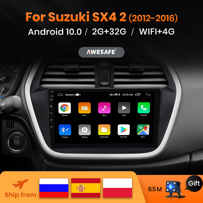 AWESAFE PX9 2Din Android 10 para Suzuki SX4 S 2012, 2013, 2014, 2015, 2016 Suzuki-SX4 S-clase auto Radio Multimedia reproductor de vídeo