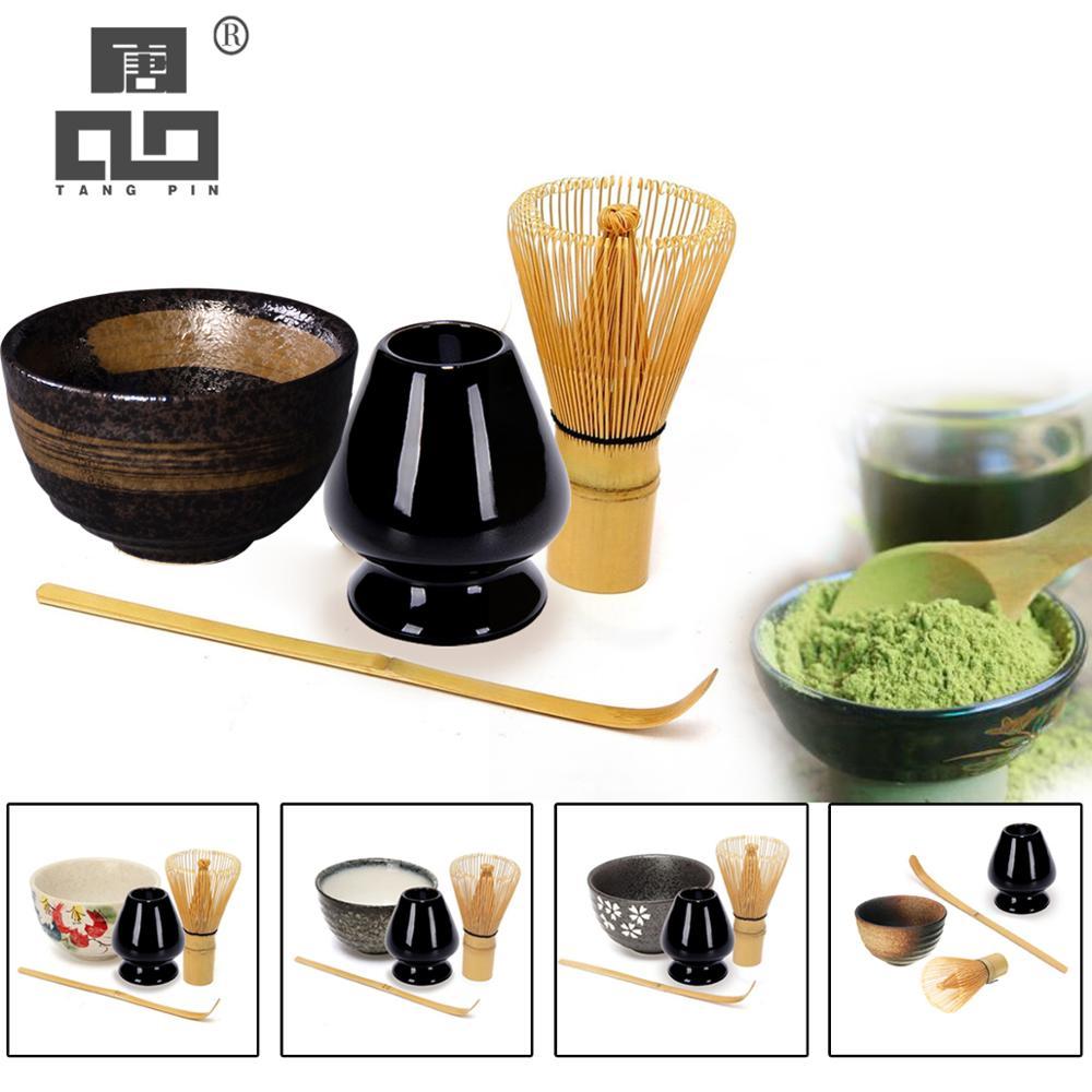 TANGPIN 4 adet/takım geleneksel matcha hediye seti bambu matcha çırpma teli kepçe seramik Matcha Kase Çırpma Tutucu japon çay takımları
