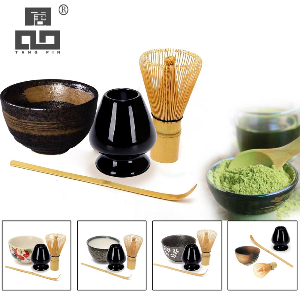 TANGPIN 4pcs/set Traditional Matcha Giftset Bamboo Matcha Whisk Scoop Ceremic Matcha Bowl Whisk Holder Japanese Tea Sets