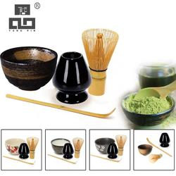 TANGPIN 4pcs/set traditional matcha giftset bamboo matcha whisk scoop ceremic Matcha Bowl Whisk Holder japanese tea sets