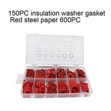 600 pces 12 tamanhos de aço vermelho papel fibra plana arruela kit isolamento arruela junta porca & parafuso conjunto anel liso selo sortimento kit