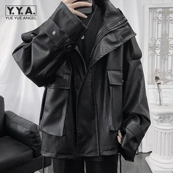 Streetwear Men Black Punk Jacket Loose Gothic Pu Leather Windbreakers Mens Zipper Biker Jackets Spring Fashion Hip Hop Outerwear