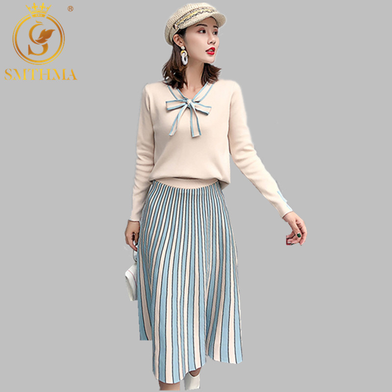 New Autumn And Winter Knitted Sweater And Skirt Girl Two-piece Office Skirt Sets Long-sleeved Bow Pullover Top Skirt Suit