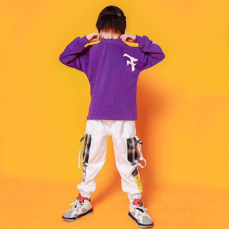 Boys Hip Hop Costumes Purple Shirts Fashion Ballroom Dance Costume Girls Jazz Clothes Set Loose Pants Dancewear for Children (2)