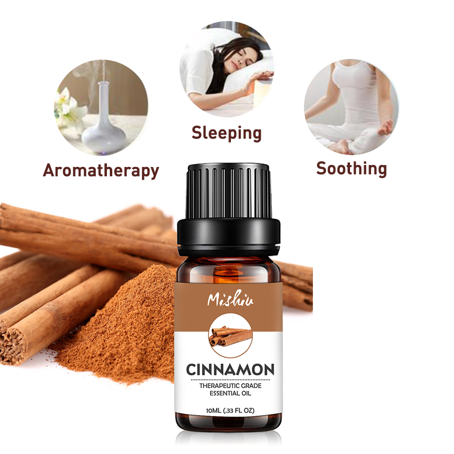Mishiu Cinnamon Essential Oil For Aromatherapy Tea Tree Orange Rose Peppermint Patchouli Lemongrass 100% Pure Massage Oil 10ML