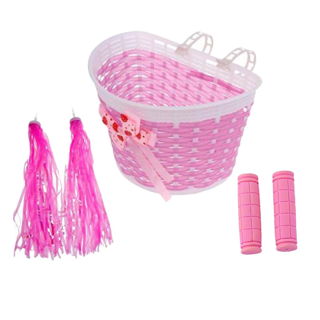 20.5 x 14 x 13.5cm Bike Bicycle Front Basket for Girls with 1 Pair Handlebar Grips and Streamers for kids Bike Decoration