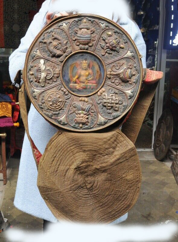 "wedding decoration 15""Tibetan Bronze Painted silk 8 treasures symbol Yellow Jambhala Shrines statue Statues & Sculptures     - title="