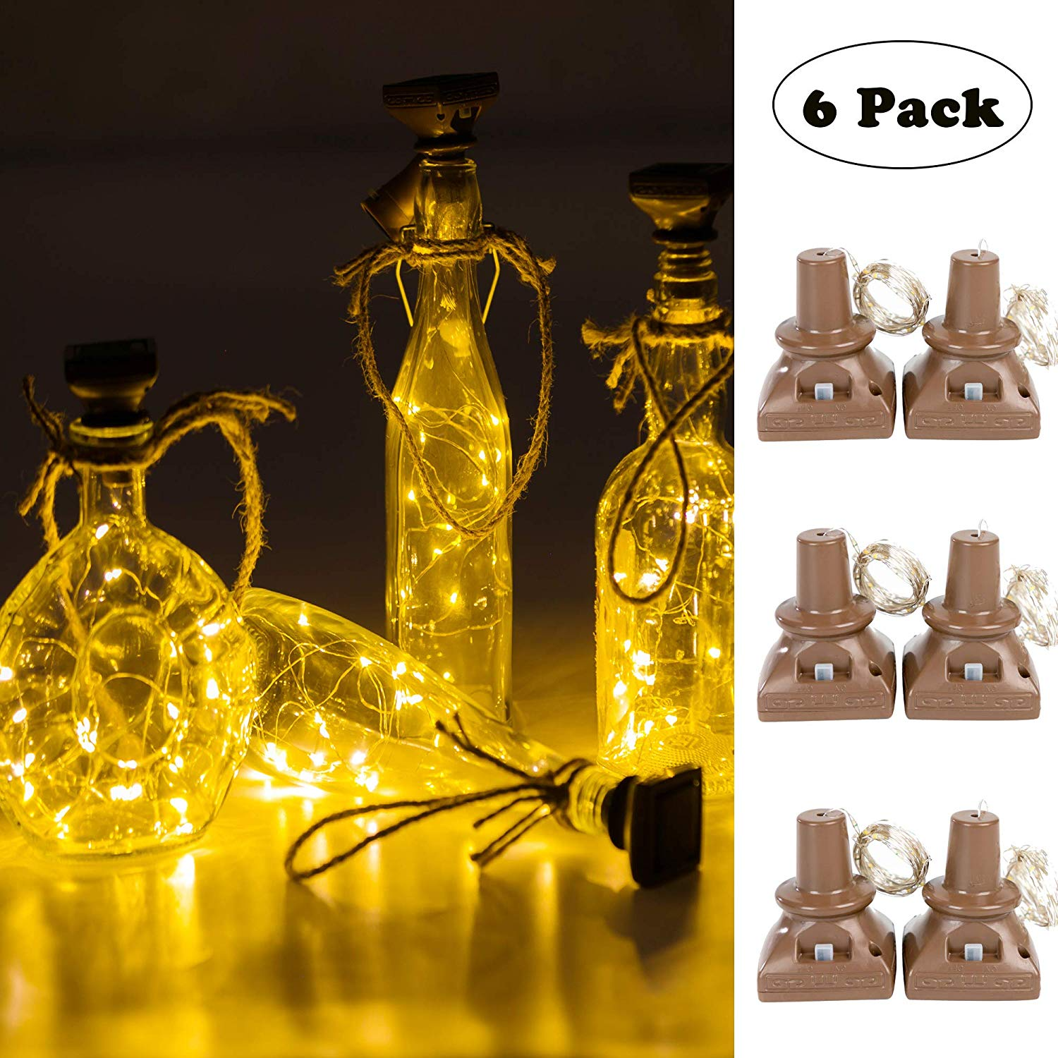 6pcs 20leds Solar Powered Wine Bottle Lights Waterproof Copper Cork Shaped Lights For Wedding Christmas/Outdoor/ Holiday/ Garden