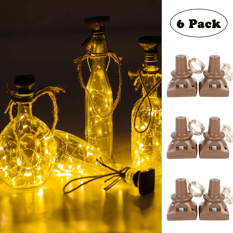 6pcs 20leds Solar Powered Wine Bottle Lights Waterproof Copper Cork Shaped Lights For Wedding Christmas/Outdoor/ Holiday/ Garden
