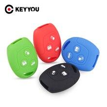 KEYYOU 3 أزرار سيليكون مفتاح غطاء لفورد مونديو فييستا التركيز C MAX S MAX العبور كا غالاكسي حافظة حامل بعيد فوب