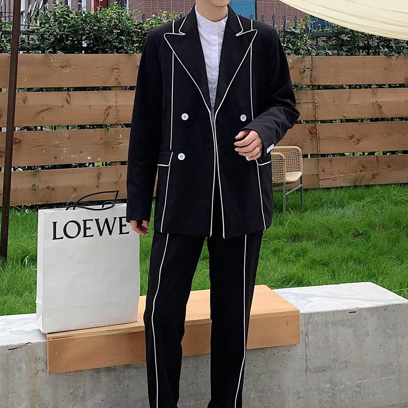 Casual Men 2 PCS Suits Sets Male Edge-wrap (jacket+pant) Streetwear Double Breasted Suit Coat Pant Blazer Trouser Stage Clothing