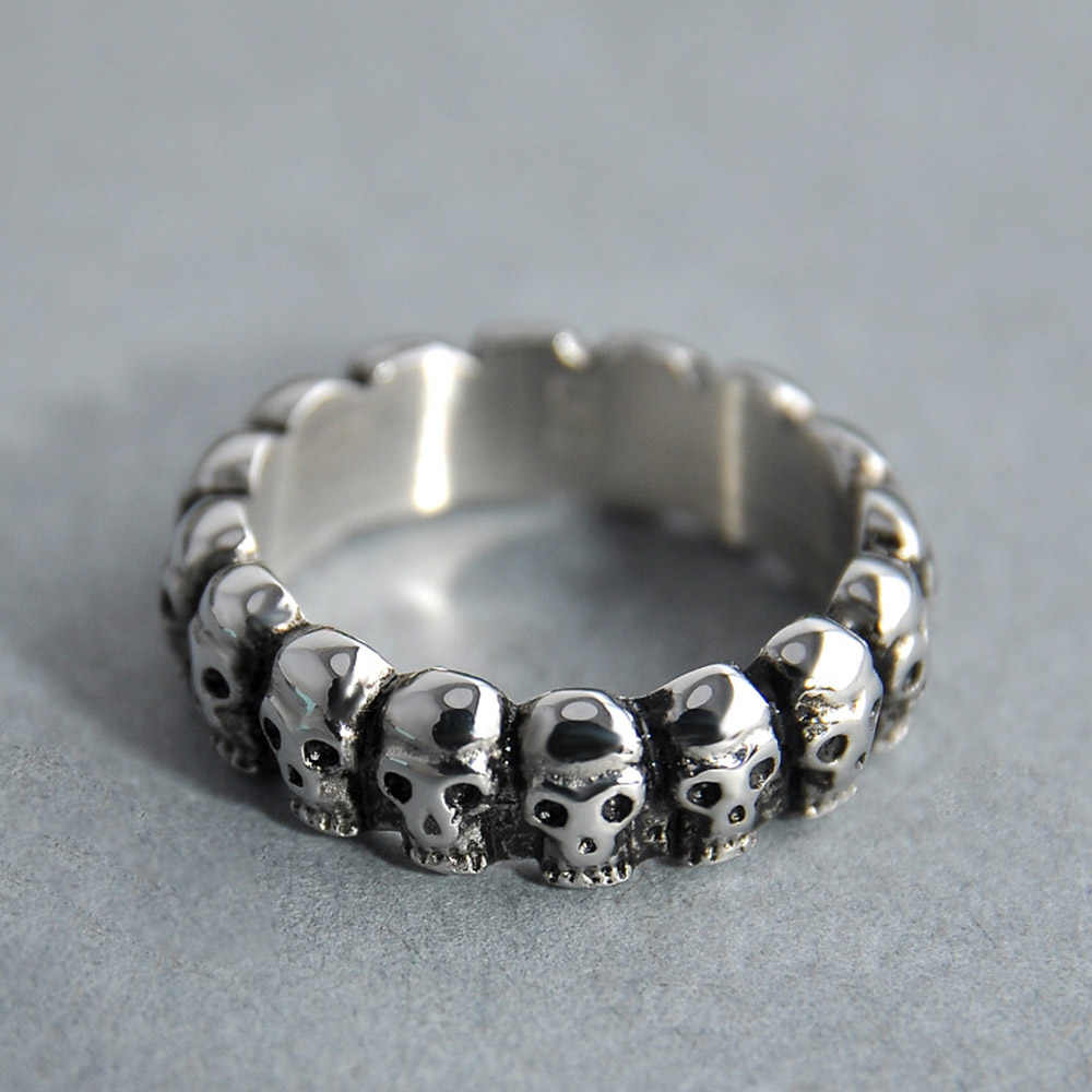 VINTAGE Gothic Punk Skull แหวนเครื่องประดับ Skeleton ผู้ชายแหวนผู้ชายผู้หญิงโบราณ Retro เครื่องประดับ Hip Hop