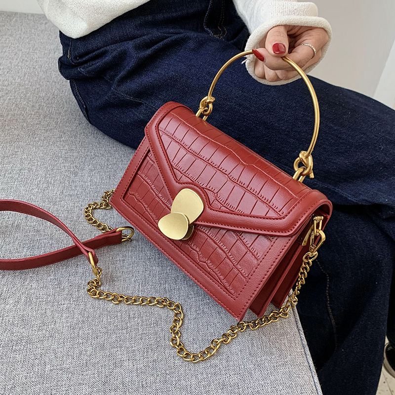 Iron Shoulder Handle PU Leather Crossbody Bags For Women 2020 Shoulder Messenger Bag Female Small Chain Handbags And Purses