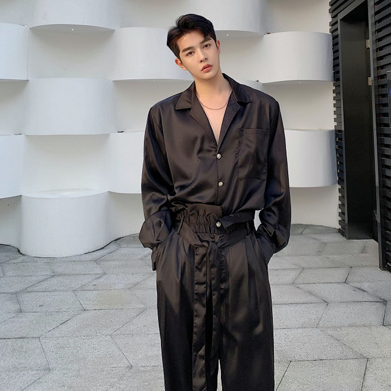 Men 2 Piece Suits Sets Men Long Sleeve Satin Style Casual Retro Fashion Shirt Wide Leg Belt Trousers Japan Streetwear Shirt