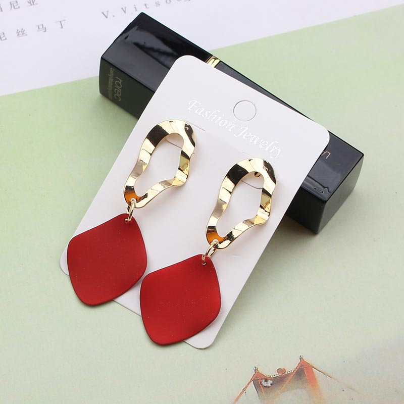 Statement Earrings Red Black White Gold Irregular Big Round Circle Geometric Earrings Punk Metal Pendant Earring For Women 2019