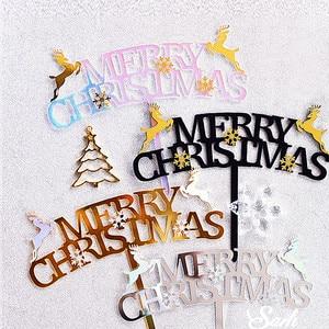 Image 3 - החג שמח עוגת טופר זהב כסף איילים קפוא מסיבת אקריליק Snowflake לקשט מתוק מתנות עבור ציוד אפייה