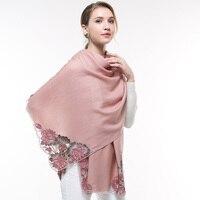 Women 100% Wool Scarf Embroidery Lotus Pink Wedding Pashmina Wraps Bride Bridesmaid Gift Shawls Echarpe Winter Wool Scarves