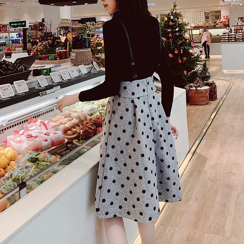 Fashion WOMEN'S Suit 2019 New Style Long Sleeve Base Sweater + Camisole Polka Dot Skirt Two-Piece Women's F5778