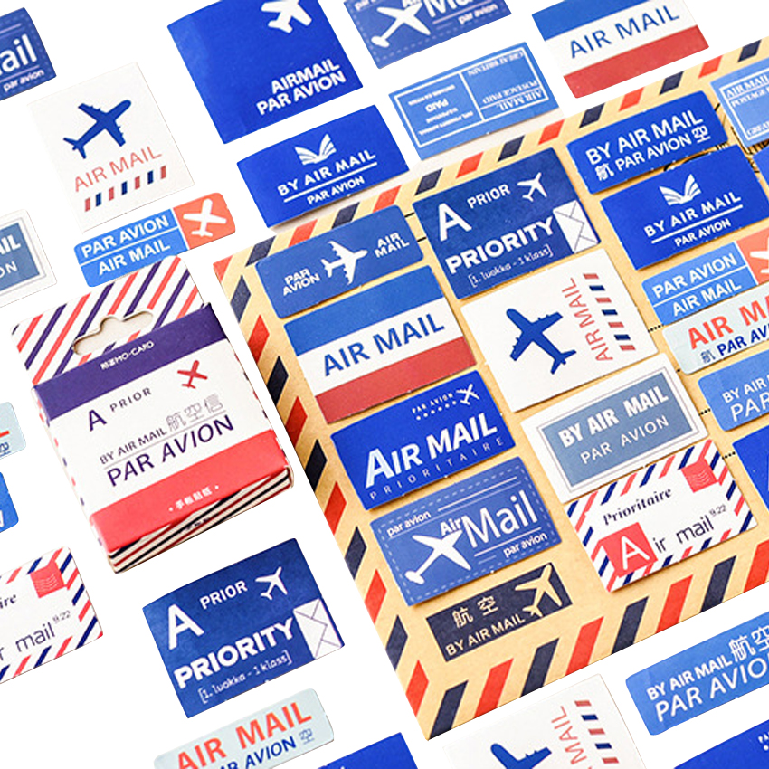45pcs/pack Retro Air Mail Scrapbooking Sticker DIY Photo Album Kawaii Decoration Dairy Sticker Card Making Gift For Girls Party