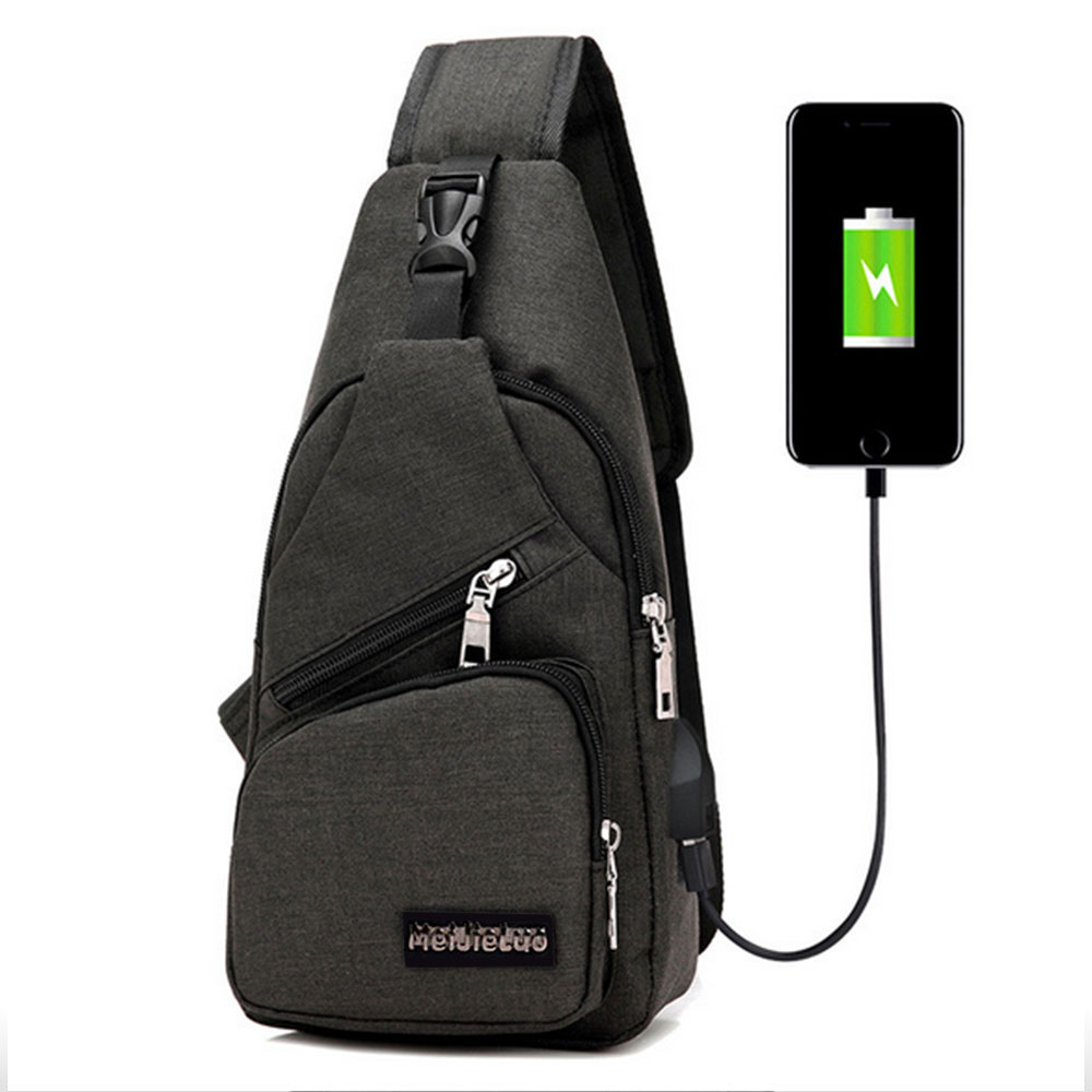 Men One Shoulder Backpack USB Charging Crossbody Bag Anti Theft Chest Bag School Summer Short Trip Messengers Bag Travel Fashion