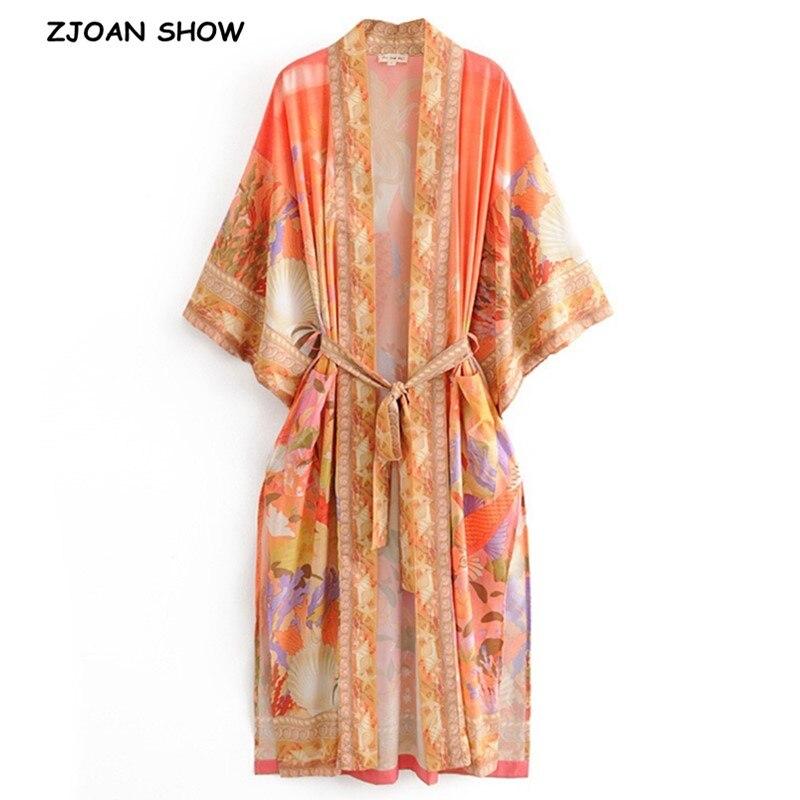 2020 Bohemia Orange Mermaid Flower Crane Print Long Kimono Shirt Ethnic Lacing Up Sashes Long Holiday Cardigan Loose Blouse Tops