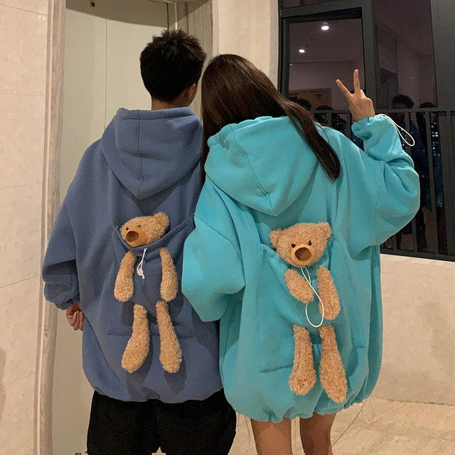 Fashion Harajuku Winter Bear Doll Hoodie Women Loose Hoodies Korean Style Sweatshirt Streetwear Fleece Hoodies Pullovers 1