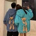Модная зимняя Толстовка Harajuku с медвежонком и куклой, женские свободные толстовки в Корейском стиле, уличная одежда, флисовые толстовки, пул...