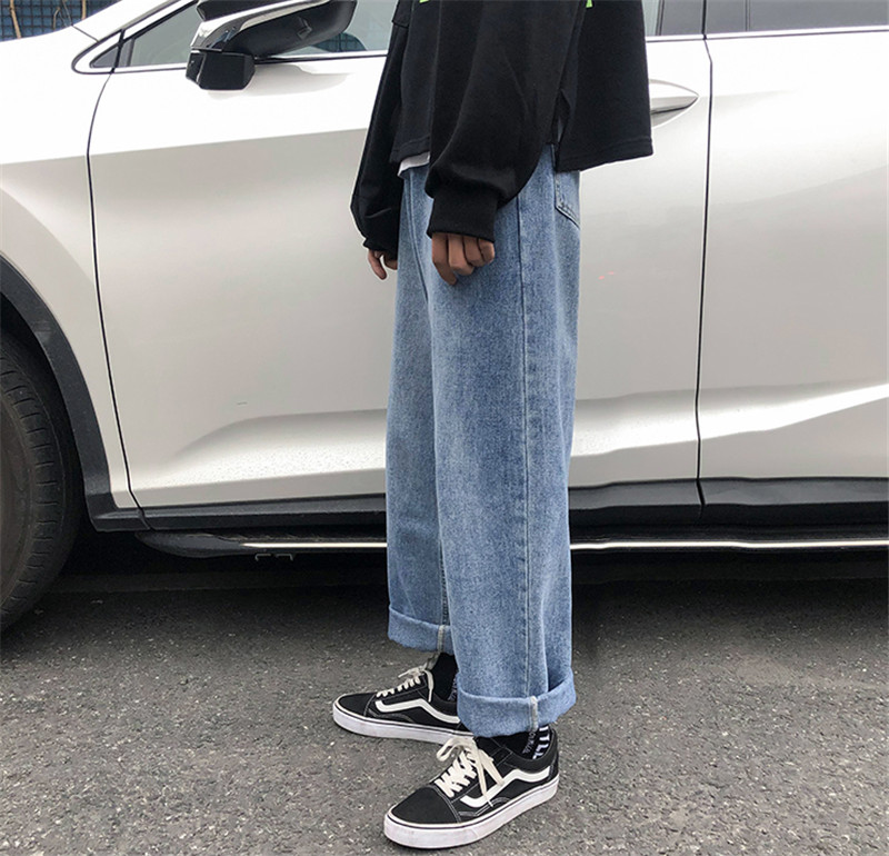 New Men`s Wide Leg Jeans Denim Trousers Casual Loose Male Straight Pants Solid Color Hip Hop Trousers Streetwear Plus Size (15)
