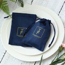 100 flanell Schmuck Beutel Gewohnheit Logo Navy Blau Schmuck Verpackung Samt Kordelzug Geschenk Tasche für Hochzeit Party