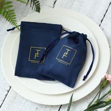 100フランネルジュエリーポーチカスタムパーソナライズロゴネイビーブルーの宝石包装ベルベット巾着ギフト結婚式のパーティー