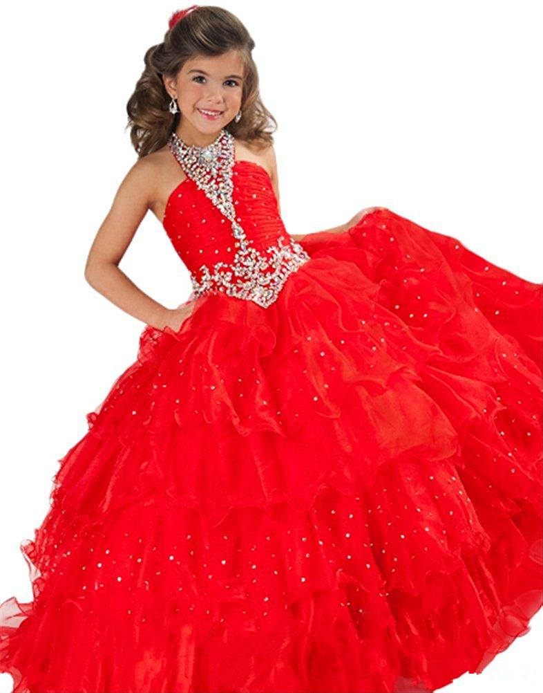 Red Girls Pageant Dresses Ball Gown Halter Organza Beaded Crystals Tiered Long Flower Girl Dresses For Weddings Little Girls