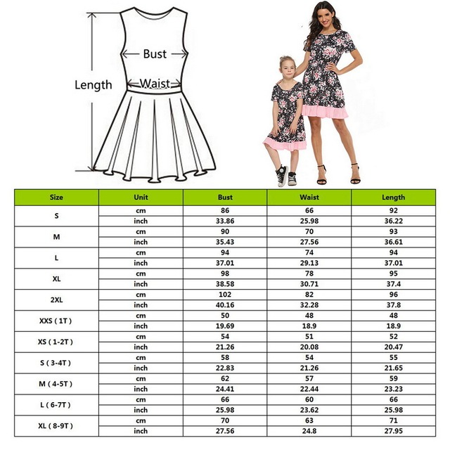 2020 Summer Family Matching Outfits Mother & daughter Matching Clothing 2-8T Floral Dress Mom Girls Family Clothes Outfits 2