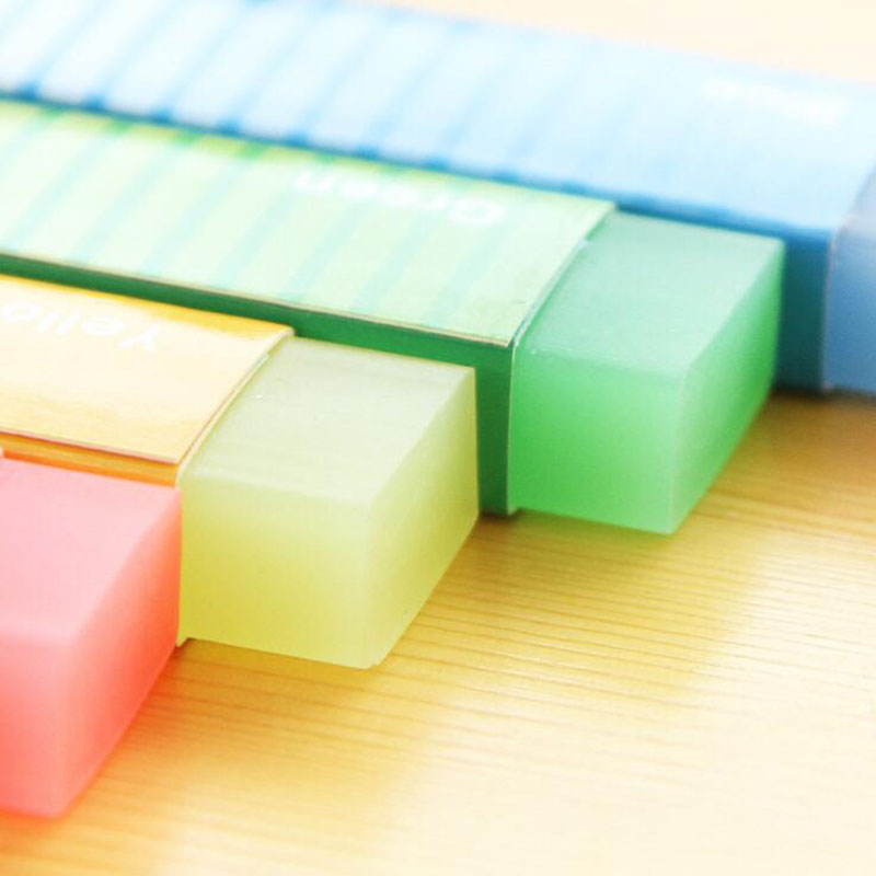 1 Set Of Beautiful Colored Jelly Eraser Strip Children'S Eraser Gift Creative Gift Korea Stationery Office Learning Materials