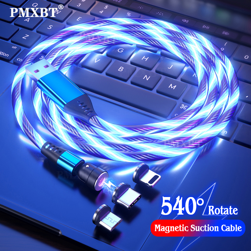 540 Rotate LED Flowing Magnetic Cable Micro USB/Type C/8 Pin For Iphone Xiaomi Redmi Huawei Mobile Phone Fast Charging Data Cord