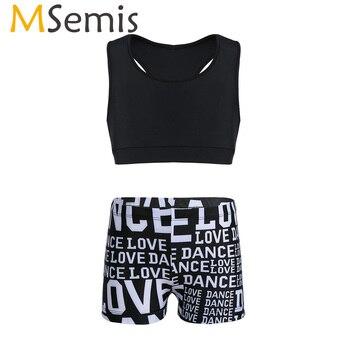 MSemis, 2 uds., traje de baile de Ballet profesional, ropa de deporte y entrenamiento gimnástico para niños y niñas, Top corto con letras estampadas, pantalones cortos
