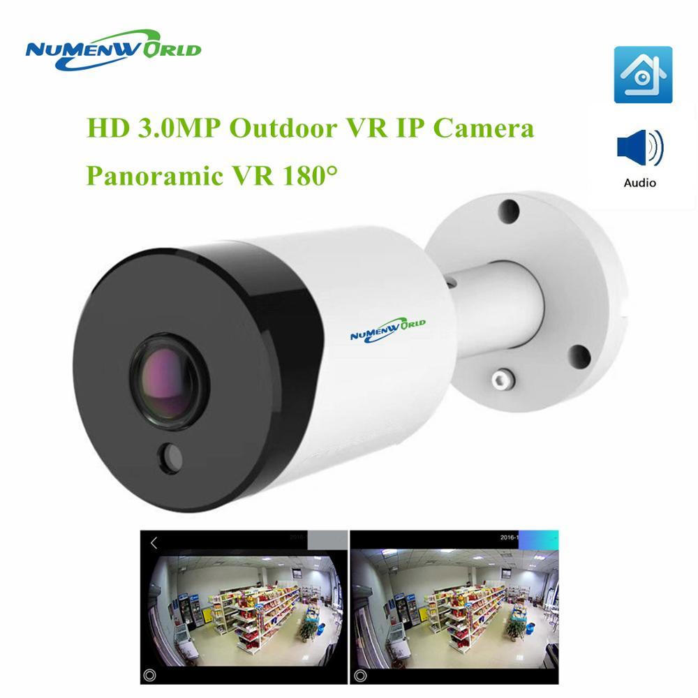 3.0MP Fish Eye Camera 180 degree 3MP HD Security Camera Audio Outdoor IP Camera Waterproof Panoramic IR Smart CCTV Camera P2P