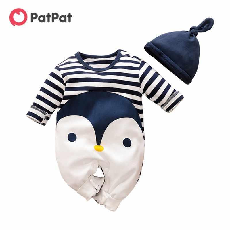 PatPat 2020 Frühling Herbst Baumwolle Casual Neugeborenen Gestreiften Pinguin Druck Overall Hut Set für Baby Dunkelblau Crawler