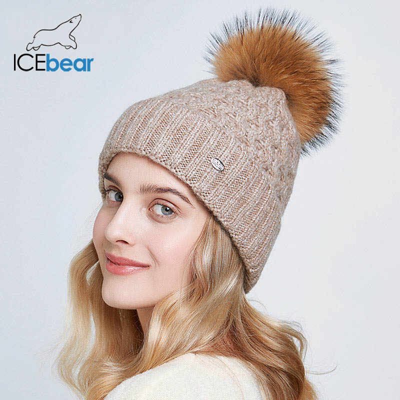 ICEbear الشتاء القبعات للنساء الطبيعية كرة فرو قبعة الدافئة الخريف بيني للإناث موضة skullies سيدة قبعات E-MX19113Q