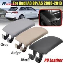 For Audi A3 8P A5 Pu Leather Center Console Arm Rest Storage Box Lid Cover Armrest Latch cover Car Pad Fit Audi A3 2004-2013