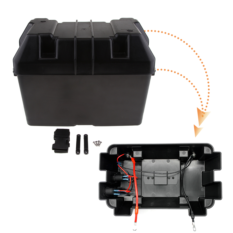 1 Set Car Smart Battery Box USB Car Charger Power Guard Storage Case & Belt GM-EP-9116 For RV Boat Auto Etc 13.4*7.67*10.6