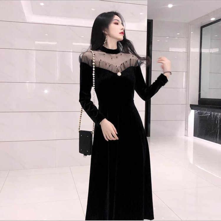 2019 bahar yeni ürünler kadin elbise Ozhouzhan Debutante boncuk şeffaf gazlı bez ortak büyük Hemline kadife tüp üst giysi