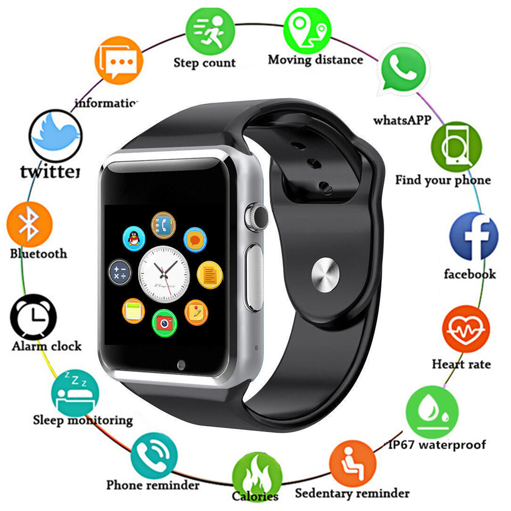 <font><b>Bluetooth</b></font> <font><b>A1</b></font> <font><b>Smart</b></font> <font><b>Watch</b></font> <font><b>Sport</b></font> Wristwatch Support 2G SIM TF Camera Smartwatch For Android Phone for Apple <font><b>Watch</b></font> Men Women Kids image