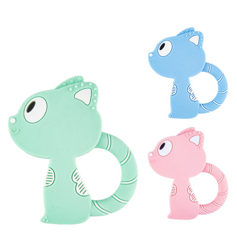 Baby Teething Silicone Teethers Cartoon Cat Style Baby Ring Teether BPA Free Chew Charms Teeth Toys For Kids Dental Teeth Care
