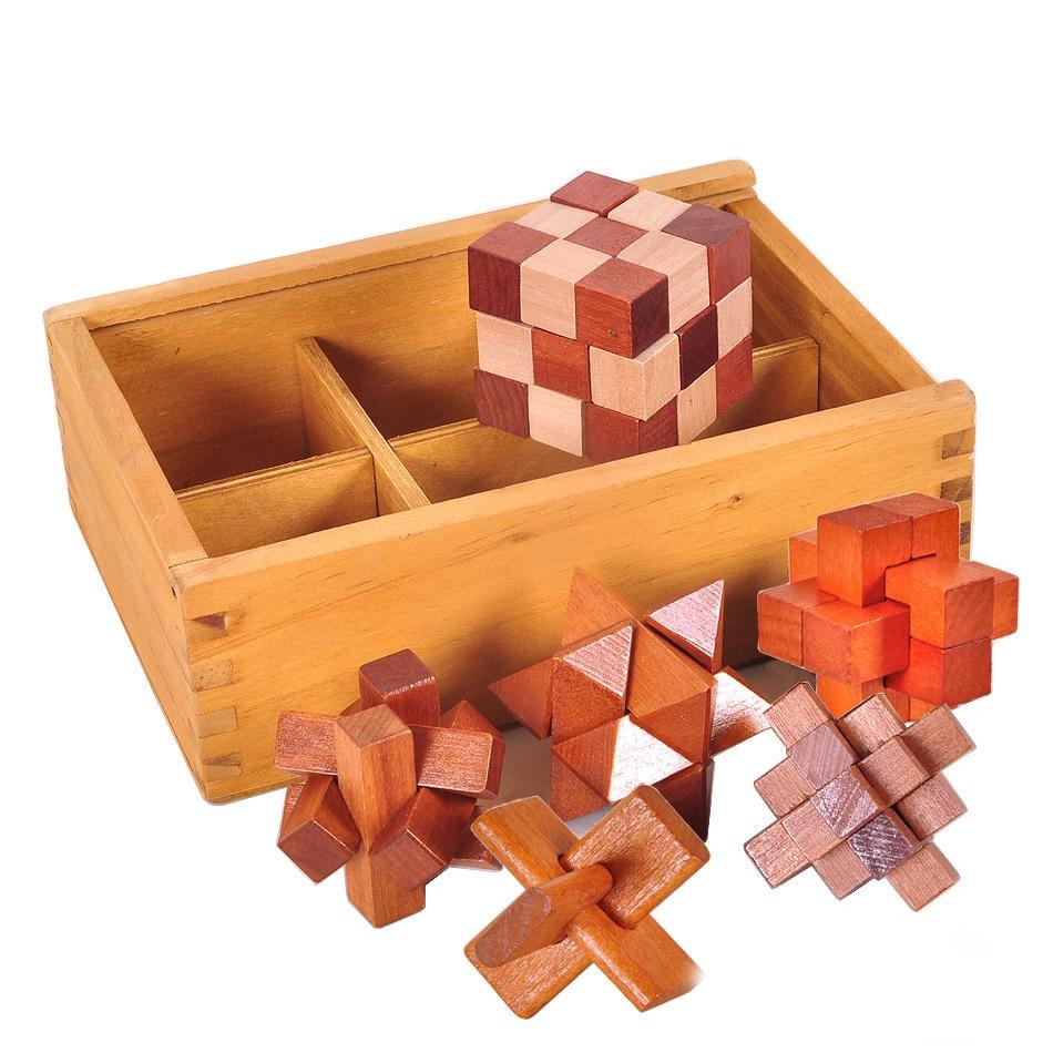 6Pcs/Set Kids Educational Toys New Design IQ Brain Teaser Kong Ming Lock 3D Wooden Interlocking Burr Puzzles Game Toy Kids Gift