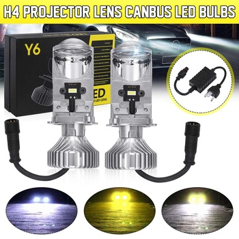 2pcs H4 LED Mini Bi-LED Projector Headlight Lens Y6S LED H4 Headlamp Retrofit Hi-low Beam Headlight Bulbs
