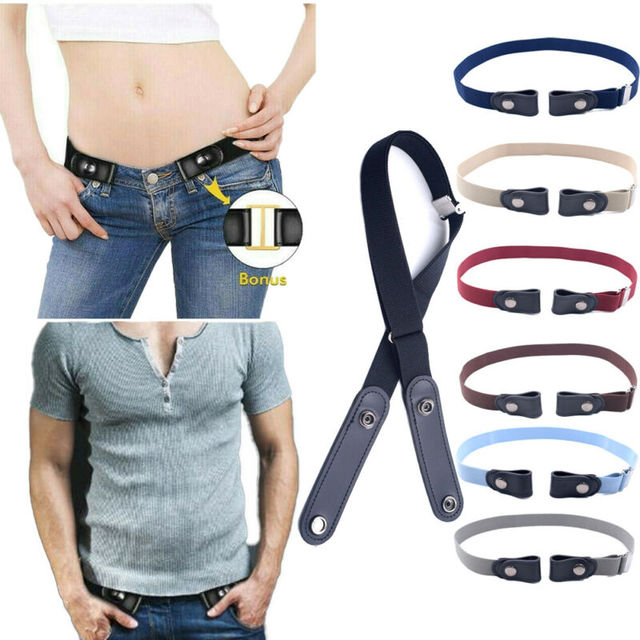 Women's Buckle-Free Elastic Belts Invisible Belt for Jeans No Bulge Hassle Band Fashion Casual Adjustable Button Canvas Belt 4