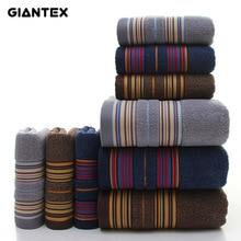 GIANTEX 3 Pieces Cotton Towel Set Bathroom Super Absorbent Bath Towel Face Towels For Adults serviette de bain toallas recznik