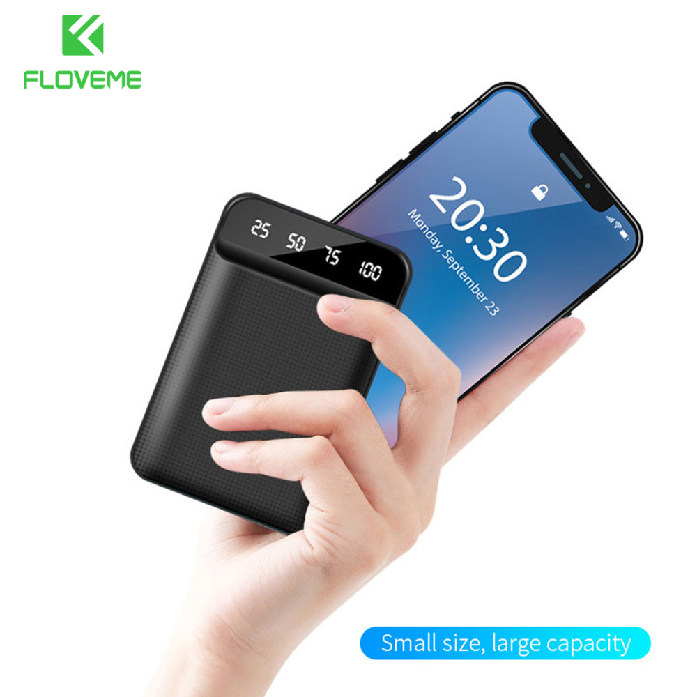 FLOVEME Mini <font><b>Power</b></font> <font><b>Bank</b></font> 10000mAh External Battery LED Display For <font><b>Xiaomi</b></font> PowerBank Dual USB <font><b>6000mAh</b></font> Portable Charger PoverBank image